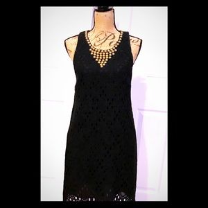 Tina Turk Dress Sz 6 Black with Gold Accents EUC